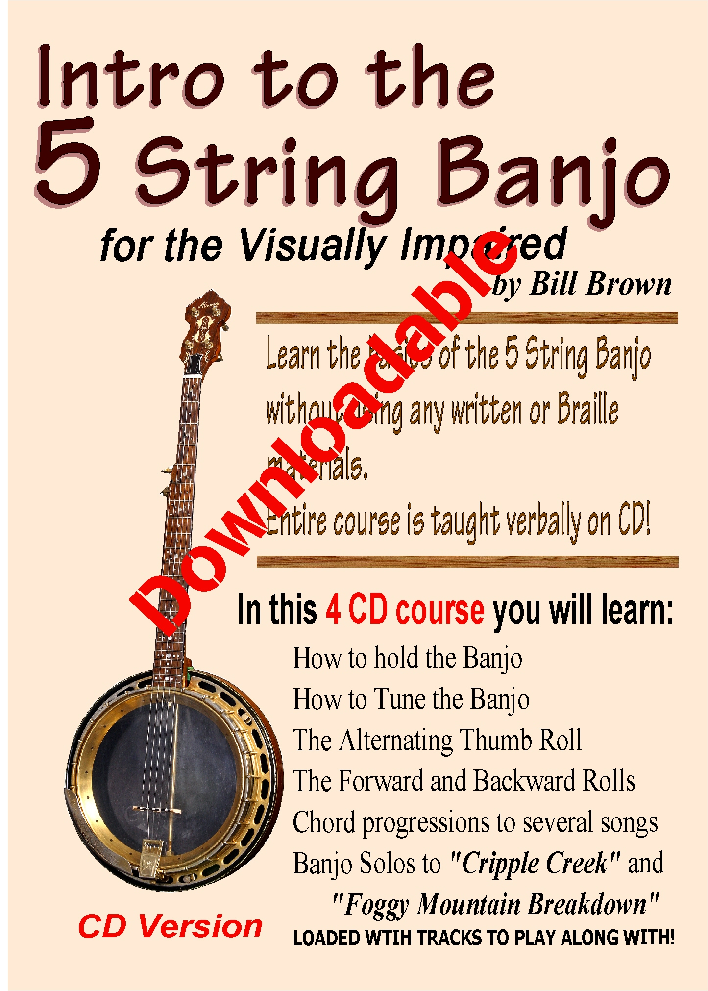 Intro to the 5 String Banjo for the Visually Impaired (Downloadable)