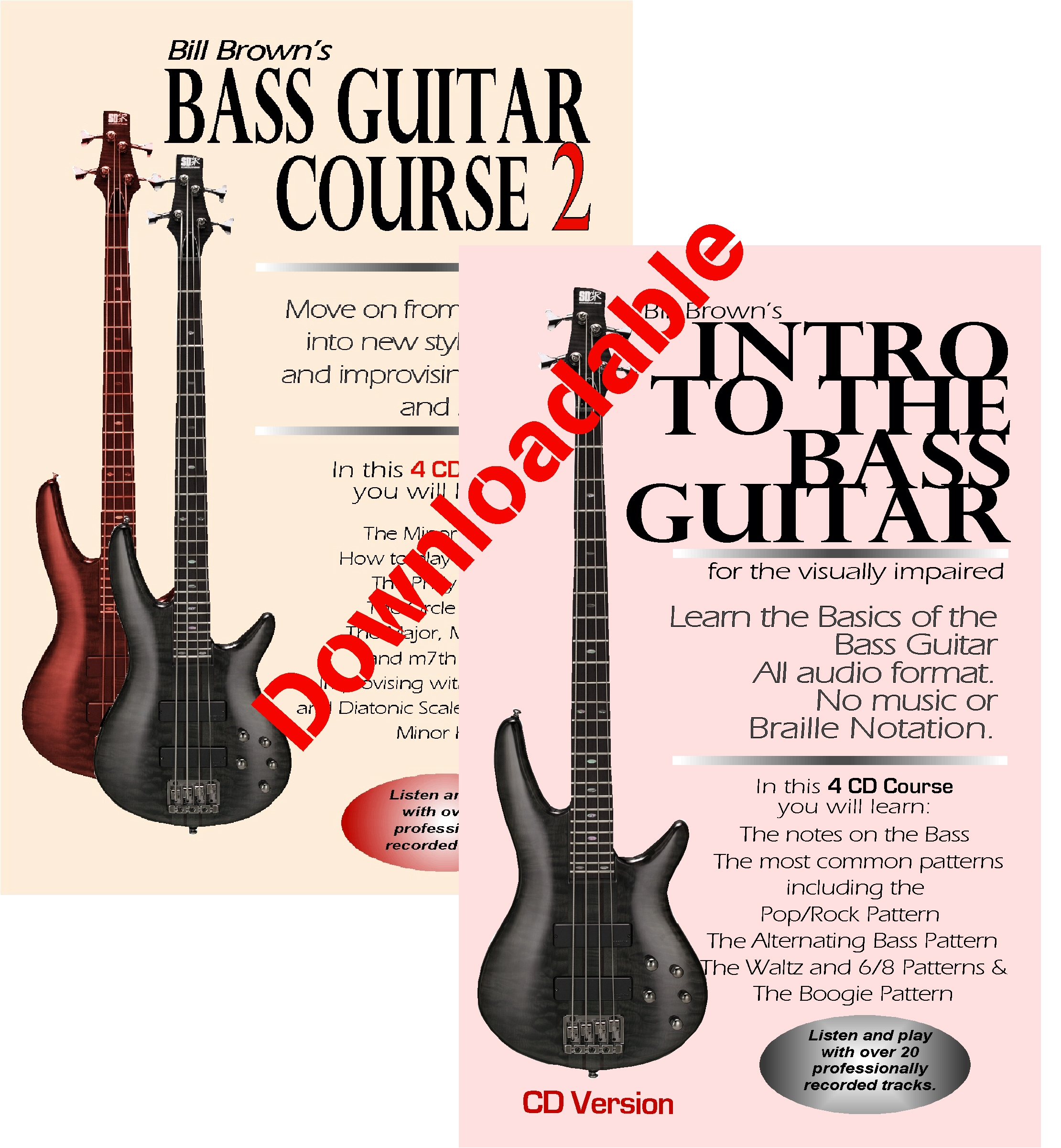 Intro to the Bass Guitar for the Visually Impaired and Bass Course 2 (Downloadable)