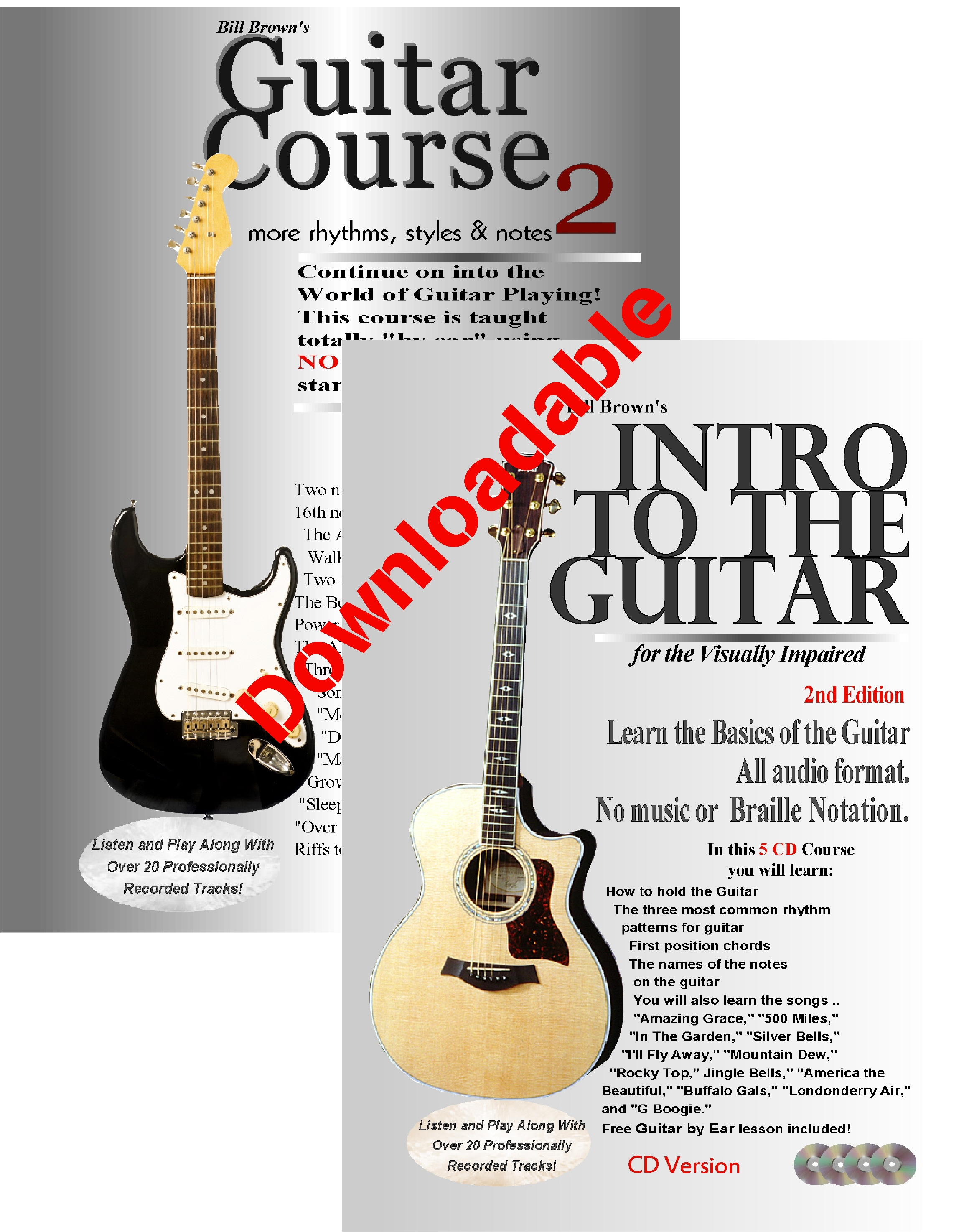 Intro to the Guitar for the Visually Impaired and Guitar Course 2 (Downloadable)