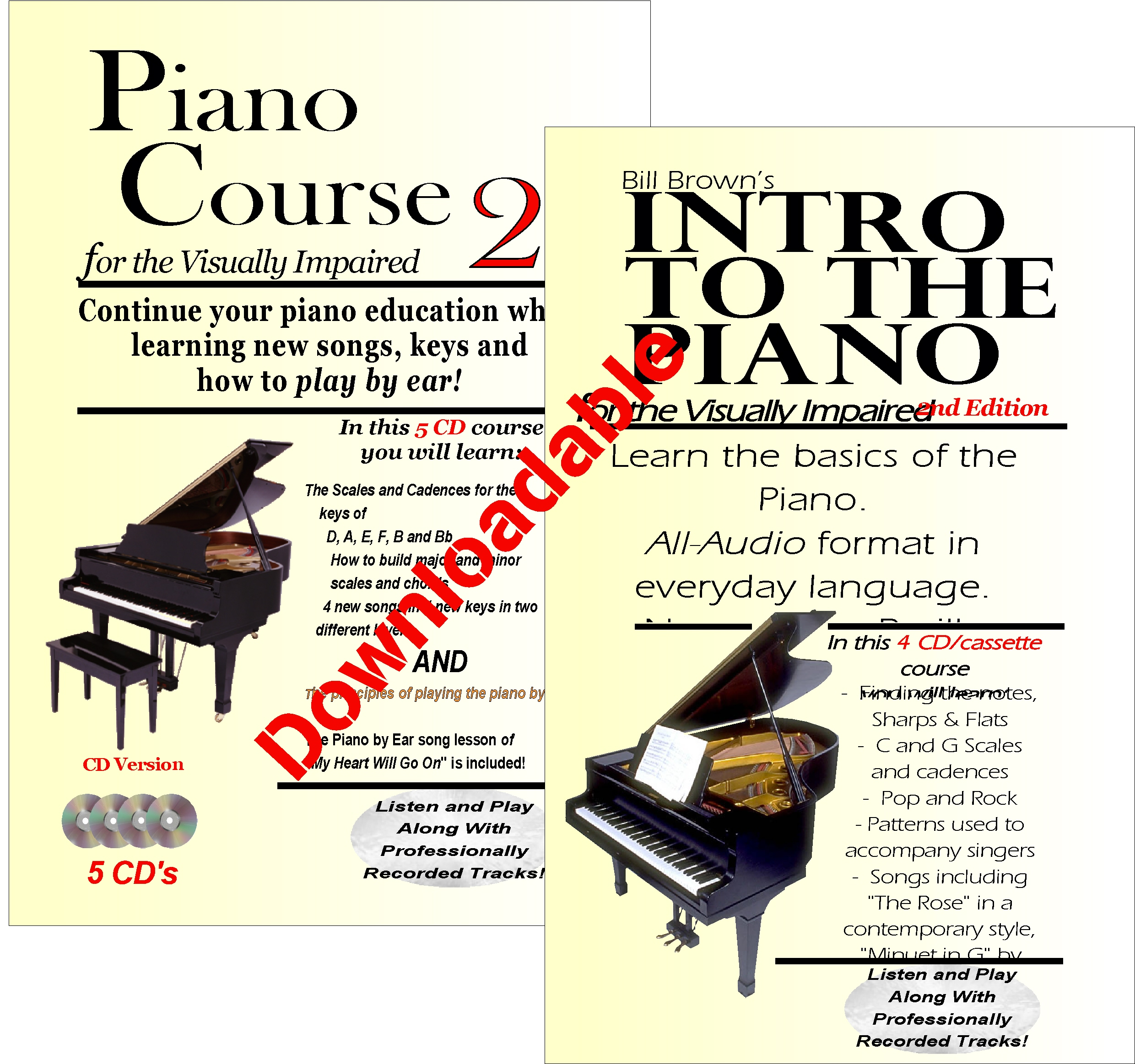 Intro to the Piano and Piano Course 2 for the Visually Impaired (Downloadable)