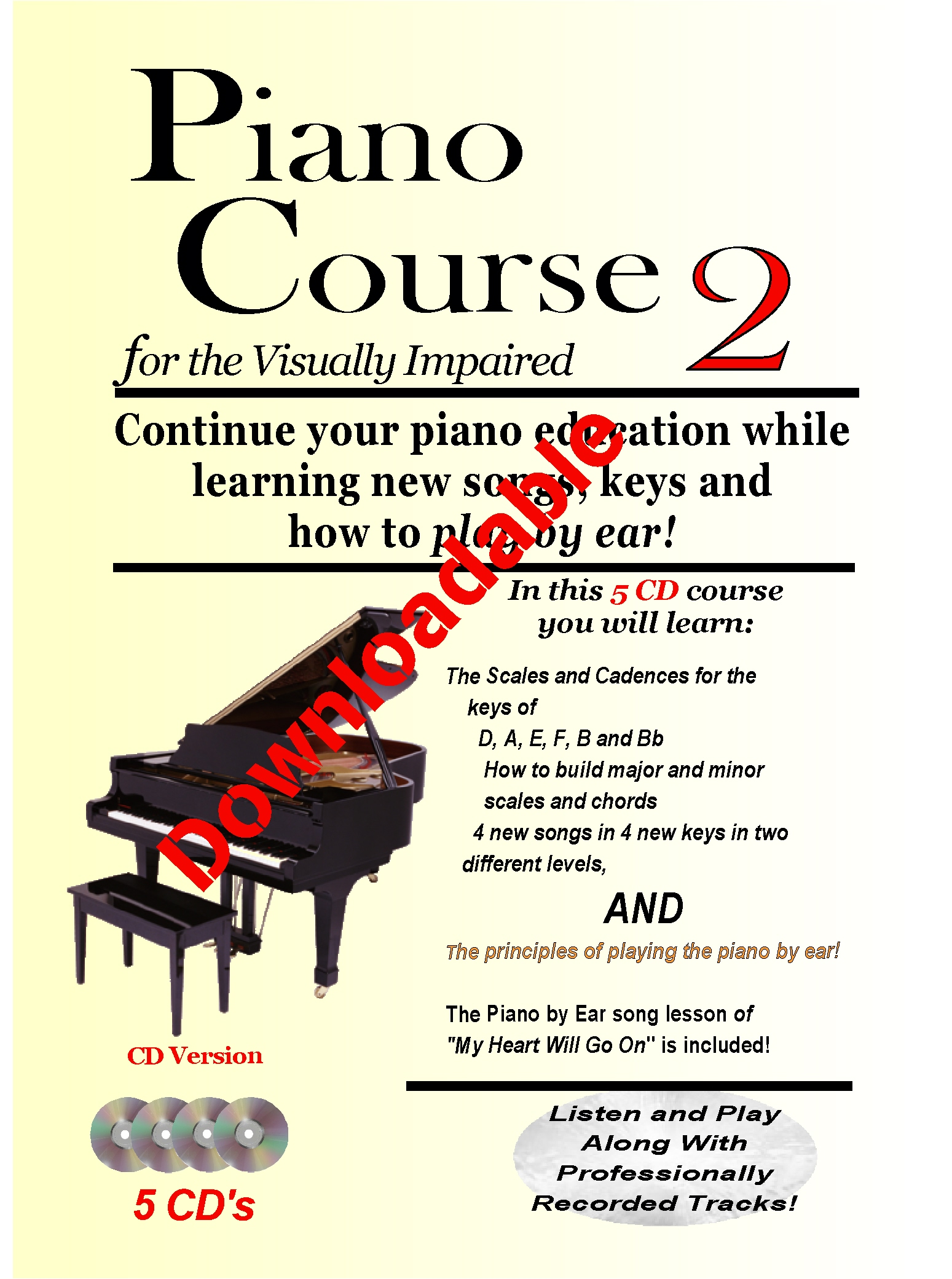 Piano Course 2 for the Visually Impaired Downloadable
